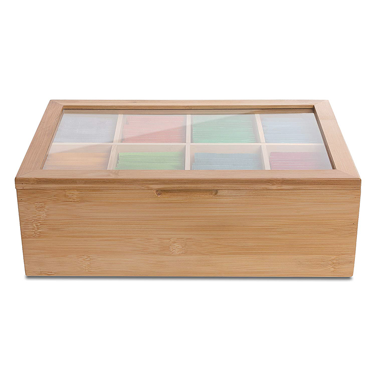 buy japanese handmade wooden tea box with glass lid bamboo tea box storage organizer wholesale price with 8 compartments