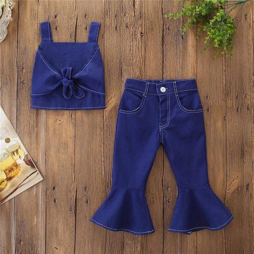 Summer Fashion Toddler Kids Baby Girls Clothes set Sleeveless Sling Vest Crop Tops High Waist Flared Pants <strong>jeans</strong> 2Pcs outfits