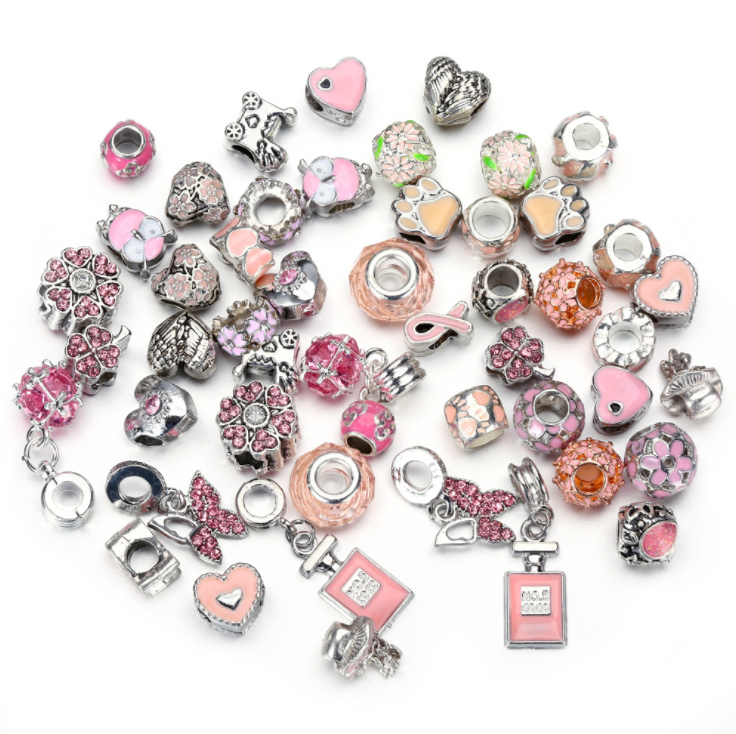 50pcs/bag Alloy Large Hole Bead Bracelet Accessories DIY <strong>Charms</strong>