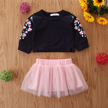 Winter Autumn Girl Floral Hoodies With Dresses 2pcs Clothes Outfits Suits Pants Fall Children Clothes Set