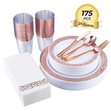 Disposable 175pcs Rose Gold Plastic <strong>Plates</strong>