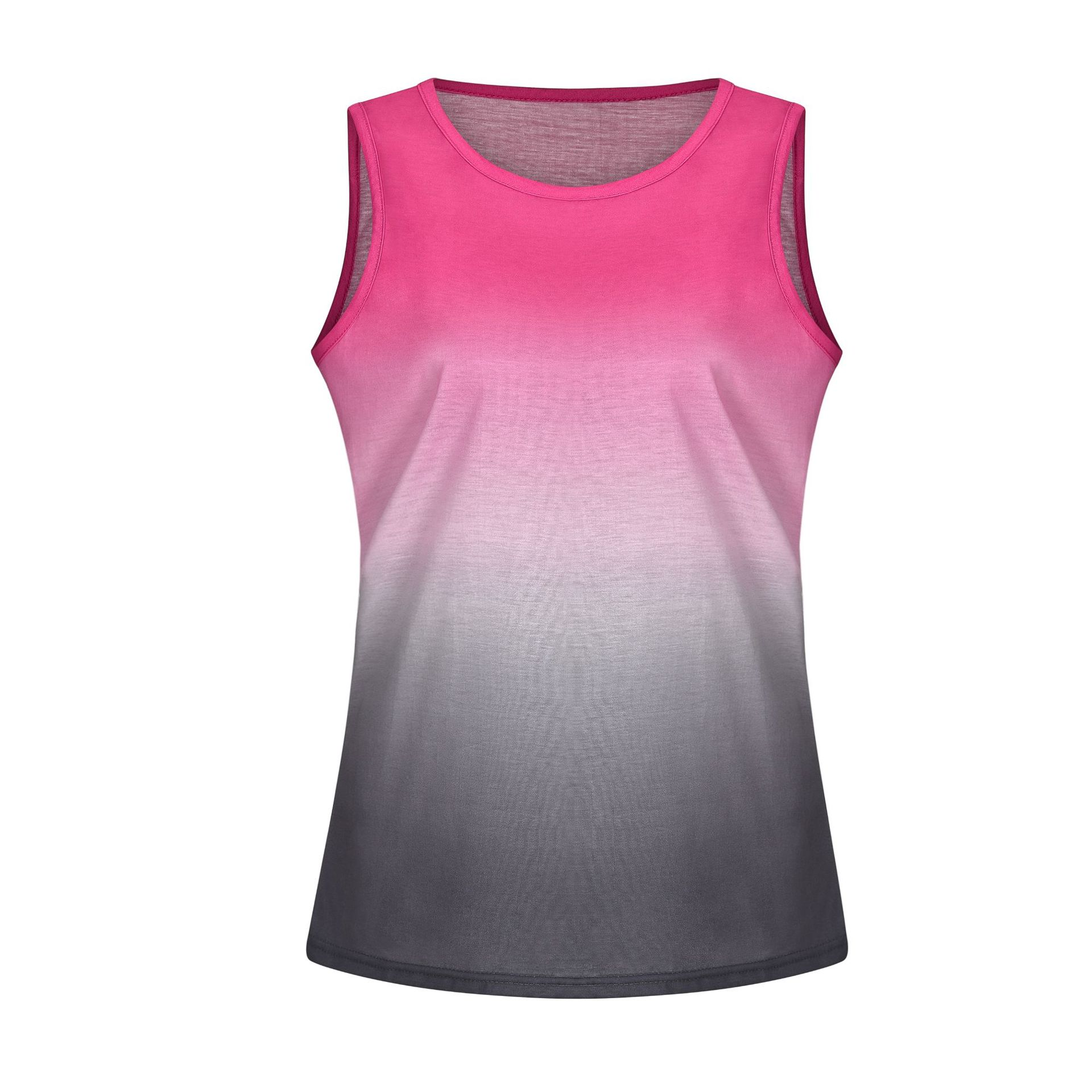 2019 Hot Sales Summer Girls Rainbow Gradient Printed T-shirt Casual Vest for Women
