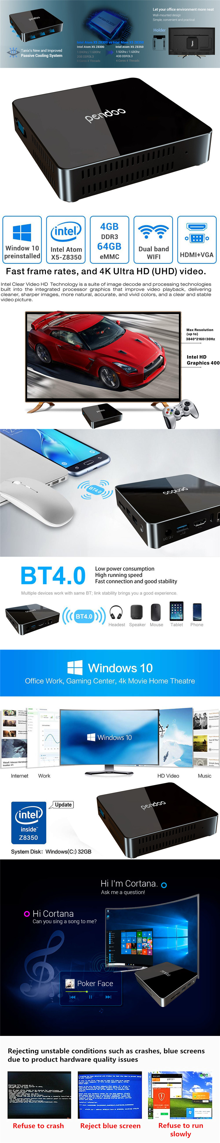 Multi function  pendoo x86  Intel  Z8350 win10 All in one mini PC  tv desktop intel