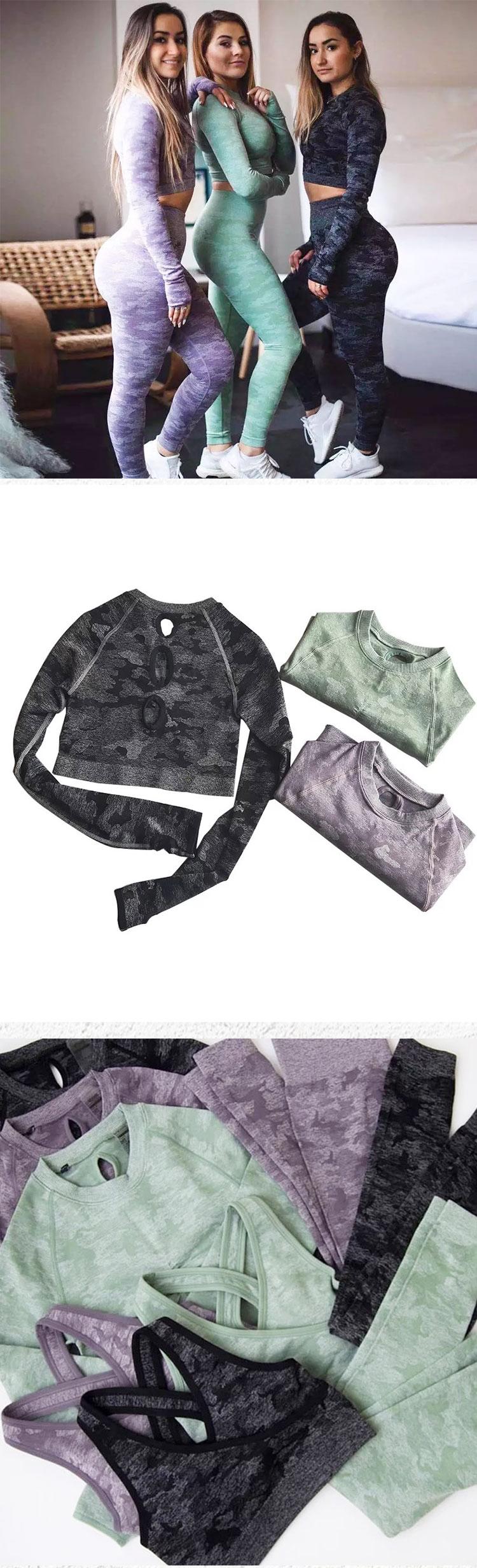 Women seamless workout yoga gym fitness long sleeves top mesh leggings shark sets