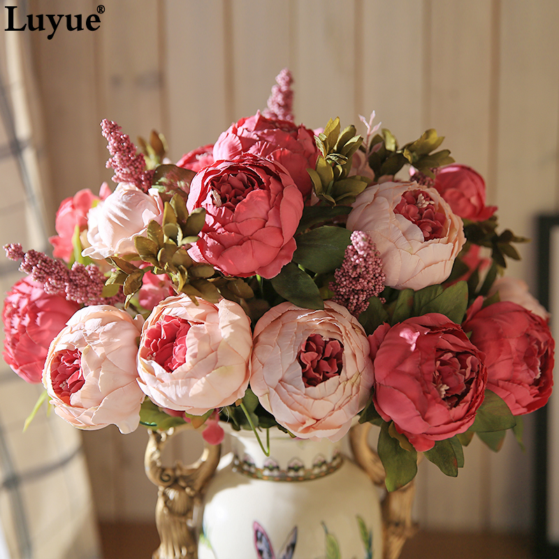 Luyue Vintage Artificial Peony Silk <strong>Flowers</strong> Bouquet Home Wedding Decoration