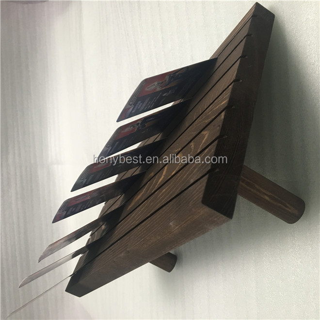 Dark Stain Wood Color Jewelry Earring Card Holder Display Stand with Two Pegs on Back