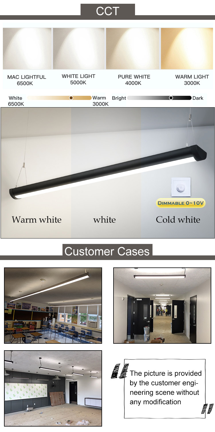 OGJG dlc etl commercial storage room suspended lighting fittings 2ft 4ft 5ft 8ft led up and down linear light