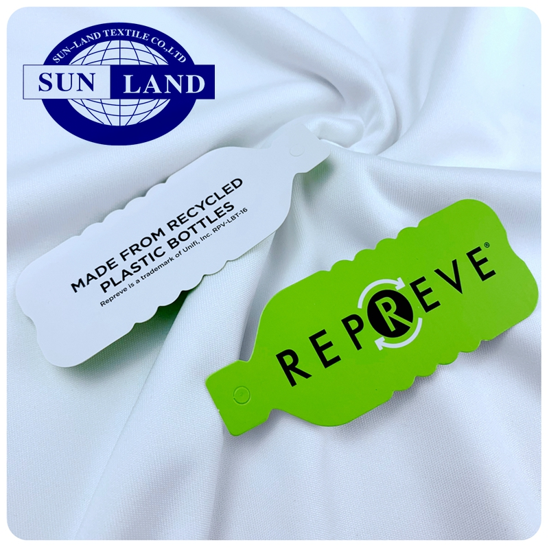 white bleach dyed Unifi Repreve eco friendly t shirt cloth 100% recycle polyester weft knitting interlock  jersey fabric