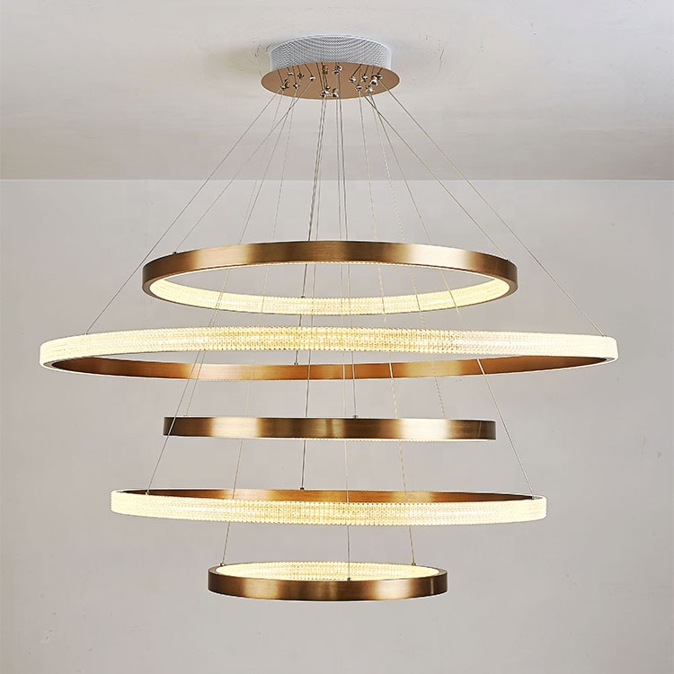 New <strong>product</strong> 2020 home lighting aluminum 5 circle modern led crystal ceiling lights for office and living room