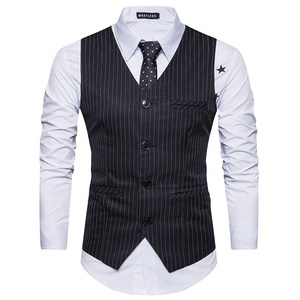 2019 Men Vest Striped Mens Formal Suit Vests Groomsmen Wedding Waistcoat Wholesale