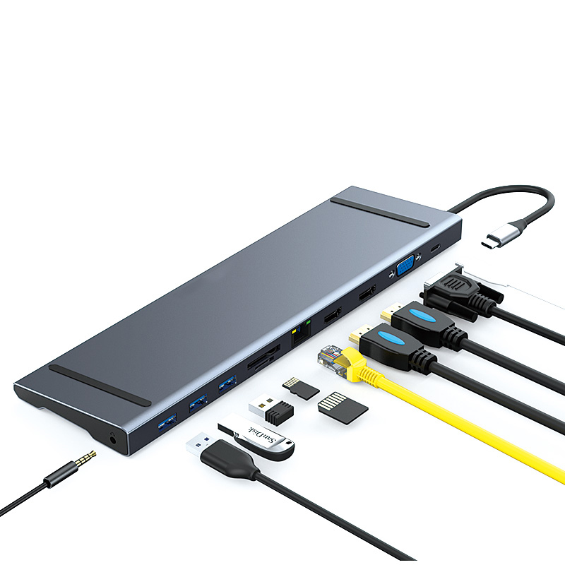 Newest <strong>11</strong> in 1 USB <strong>C</strong> Hub With Mobile Charger With HDTV VGA RJ45 TF SD Audio USB3.0 USB-<strong>C</strong> Female Charging Port