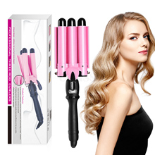 2019 New Triple Barrel Hair Curler 32mm Pink Tourmaline Crimping Waves Iron Automatic Shut Large Waves Mermaid Curlers