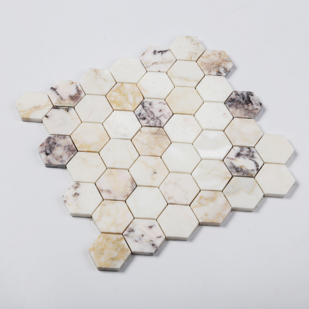 2'' White Marble Hexagon Mosaic Tile For House Decoration
