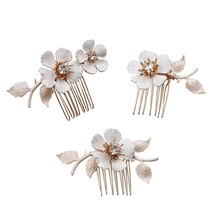 2020 Collections Hand Painted Brass Floral Charms Buds Decorated Hairpin Tiara Haircomb Wedding <strong>Hair</strong> <strong>Accessories</strong> Set