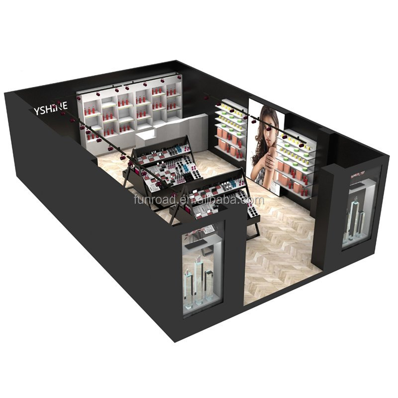 High End Cosmetische Winkel Interieur Display Meubels Ontwerp Met Make-Up Display Stand