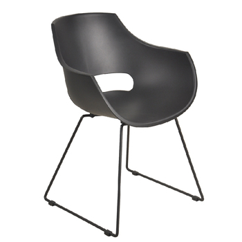 Restaurant wholesale PP modern armrest BLACK white arm dining chair with metal legs plastic chairs