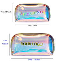Custom Personalized Waterproof Glitter Cosmetic Brush Zipper Pouch Holographic PVC Makeup <strong>Bag</strong>