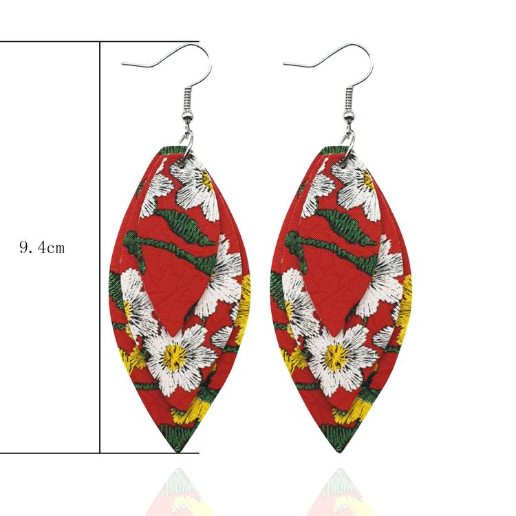 Summer Fashion Multi layer Gradient Color Stitching Pu Earrings Leather Earrings Trendy Wind Faux Leather Earrings