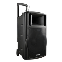 MBA 15 Inch 300 Watt Professional 2 Way Battery Powered Portable DJ Mixer Speaker Plastic Bluetooth Active Speaker