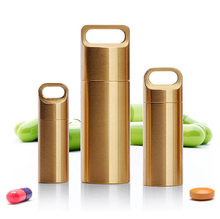 EDC Pill Medicine Storage <strong>Container</strong> H62 Brass Portable Pill Box for Outdoors Travel