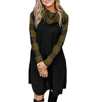 New design casual plaid long sleeve women clothing 2019 ladies dress