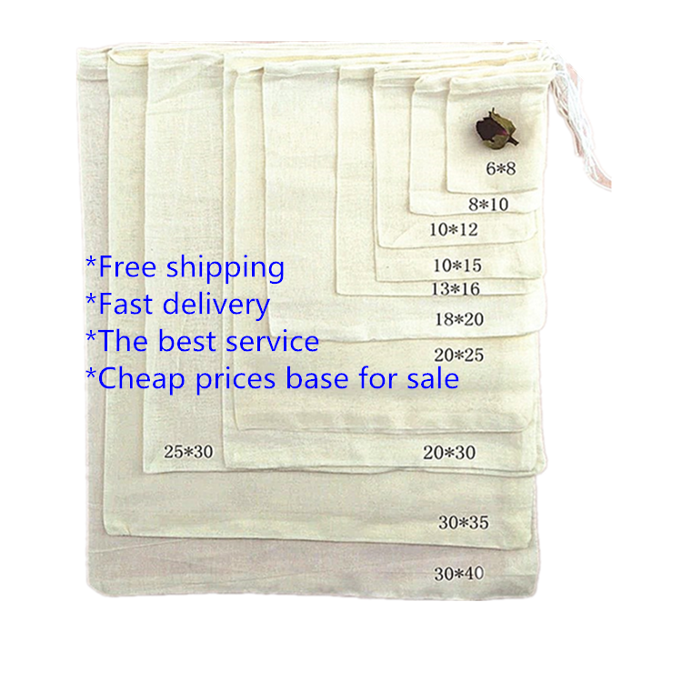 Custom drawstring fabric packing bags packaging organic muslin cotton filter bag
