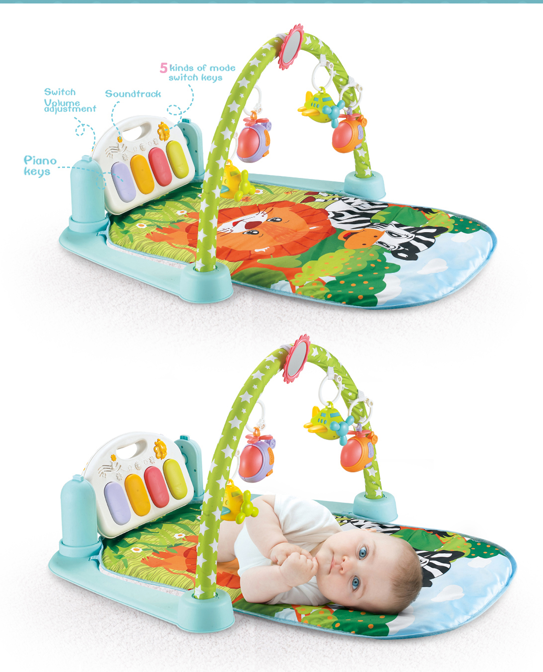 Multi functional animal cartoon toddler kids activity baby play gym mat fitness rack with hanging toy and piano