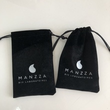 Small Soft Velvet Drawstring <strong>Bag</strong> With Silver Logo