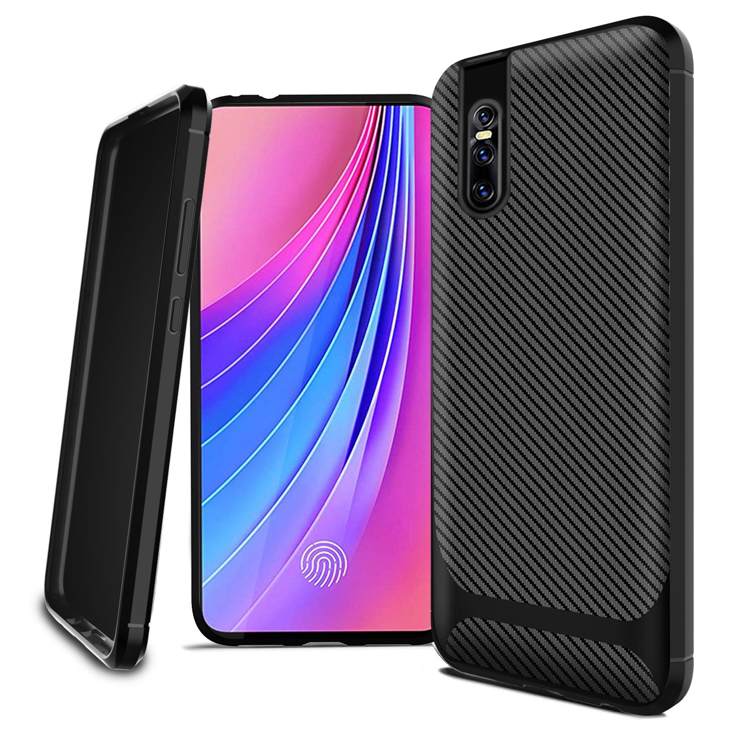 Carbon Fiber Texture Shockproof TPU Phone Case for VIVO V15 PRO S1 Y17 Y15 Y12 <strong>Y3</strong>