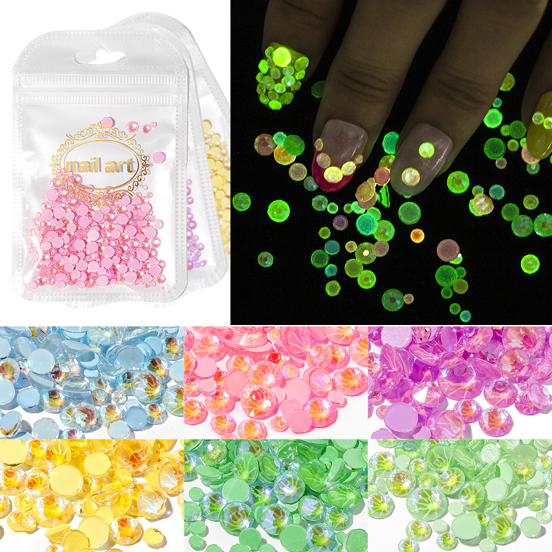 8 Colors Round Flatback Jewelry Glow in Dark Non Hotfix Nail Art <strong>Crystal</strong> Rhinestone