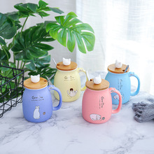 Seaygift Cute Cat 3D Ceramic Mugs Creative Milk Coffee Tea Cup Unique Porcelain Mugs with Lid and Spoon
