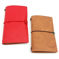vintage thin leather note book soft pu cover a5 notebook elastic band with replaceable pages