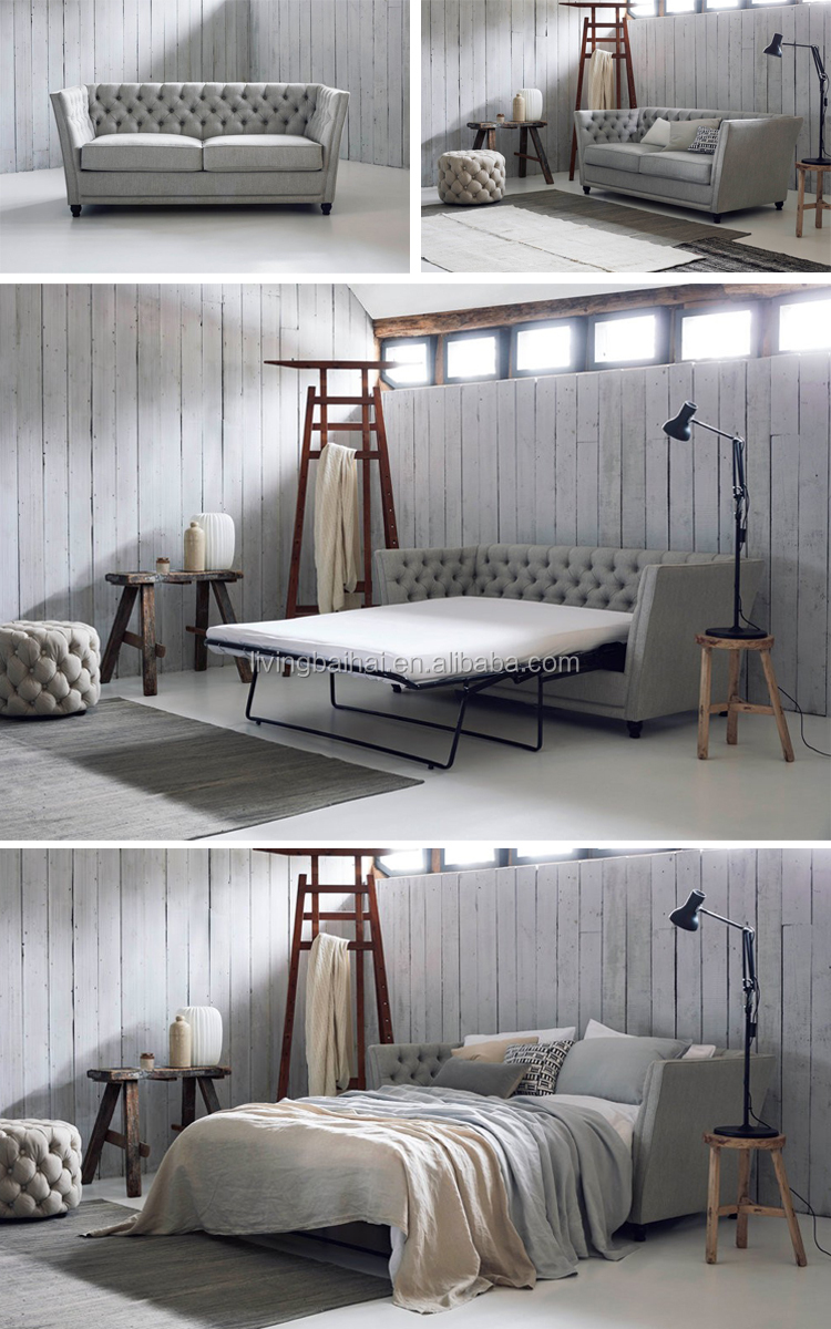 customized Chesterfield fabric cheap sofa cum bed folding. Simple design grey sofa bed set