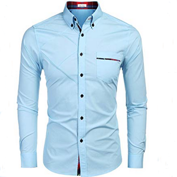 Wholesale Fashion Men's Cotton Polyester Casual Long Sleeve Plaid Collar Slim Fit Button Down Dress Shirt