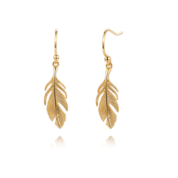 2020 Korean fashion gold plated brass earrings jewelry wholesale feather earrings women