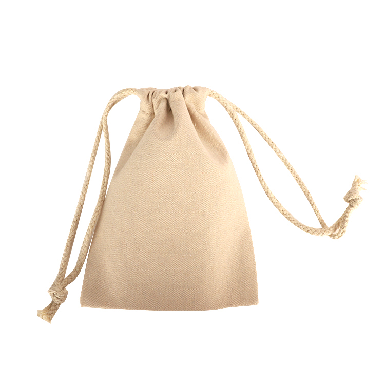 Promotional high quality custom printed small canvas cotton muslin drawstring bag