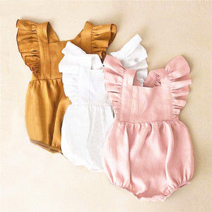Cute Beautiful summer flutter sleeves baby clothes Baby girl linen ruffle rompers