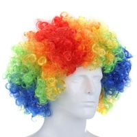 Multicolor Short Curly Explosive Head Wig Props Funny Fluffy Clown Wig Caps Wavy Round Clown Hair Fans Wig Adult Child