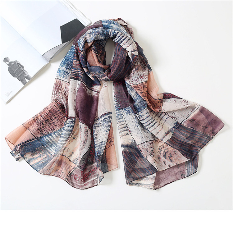 Hot sale fashion women soft lightweight voile plaid print <strong>scarf</strong>