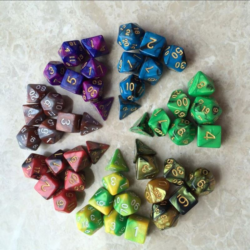 2-color Dice Set d4 d6 d8 d10 d10 <strong>d12</strong> d20 High quality Multi-Sided Dice 7pcs dice set