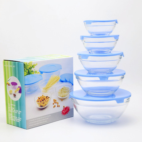 food grade dinnerware five sizes microwave use glass jars/bowls with caps for storing food salad fruits