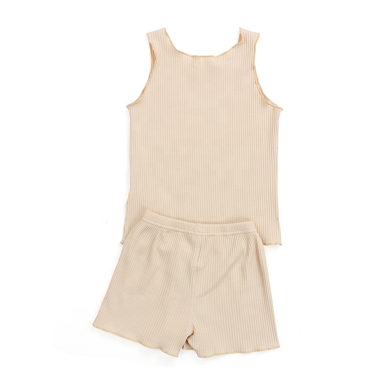 Fashional design ribbed cotton fabric sleeveless clothes kids outfit baby sets clothing