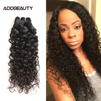 Addbeauty 100% Human hair extension brazilian hair water wave, Cuticle Aligned Human Virgin Hair Weaving