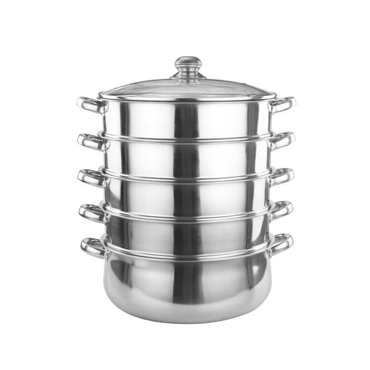 Factory cheap custom food grade stainless steel kitchen food steamer pot set with glass lid.jpg