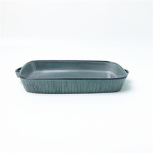 Food Safety Ceramic Reactive Glaze Rectangle Bakeware <strong>Plate</strong> with Handles