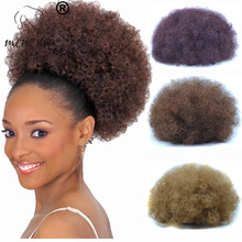 Xuchang Mengyun Hair Wholesale 5 Colors Synthetic Hair Pieces Chignon Afro Curly Hair Buns Soft Fiber Kinky Ponytail