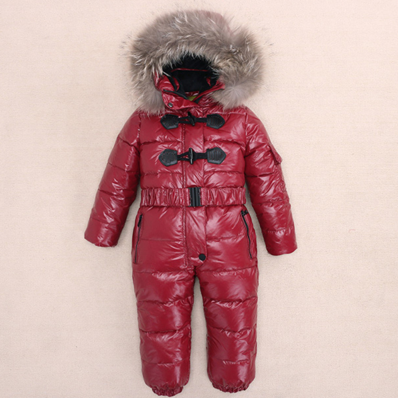 Winter Warm Kids Jumpsuit Children's Down Jacket Baby Snowsuit Romper Boys Girls Snow Wear Hooded <strong>Coats</strong> Parkas Ski Suit New