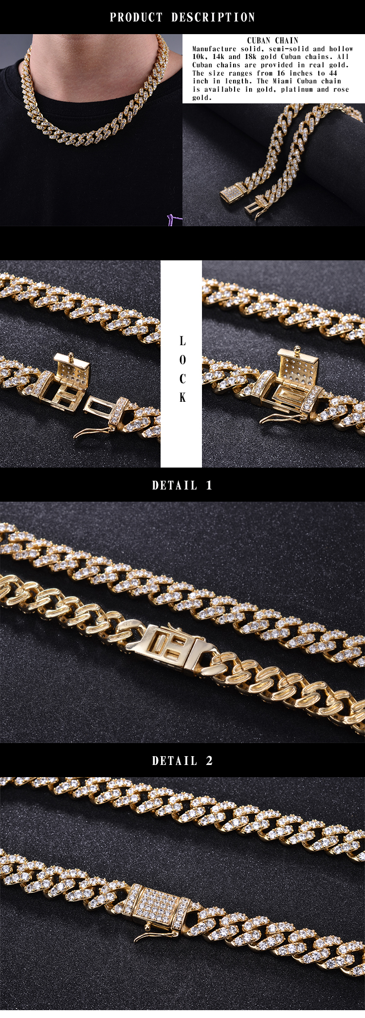 bling new gold design hiphop iced out cz 14k gold plated 20mm 3mm 6mm cuban link chain for men