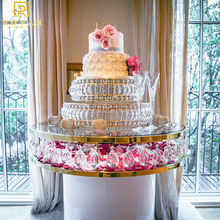 Stainless steel frame glass wedding cake <strong>table</strong> for event and party