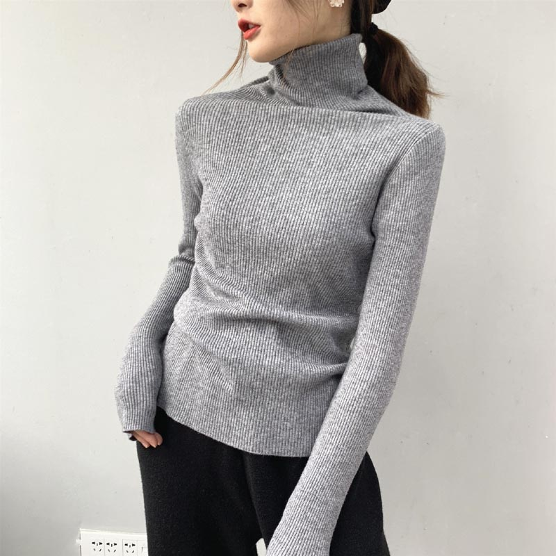 <strong>A014</strong> Plain Color Minimalism Elegant Women Sweater Autumn Long Sleeve Slim Waist Sweater Cashmere Blends Pullovers Wholesale